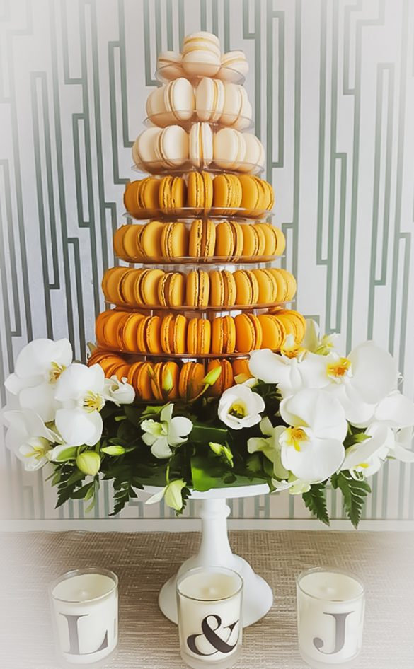 Gold Themed Wedding Macaron Tower